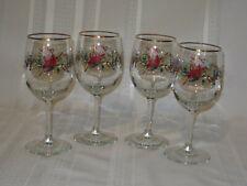Lenox Winter Greetings Water Beverage Goblets Stemware Glasses  Set of 4