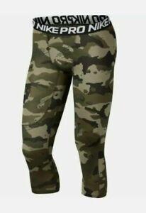 Nike Pro Men's 3/4 Camo Tights Leggings AQ1197 395 Large NWT