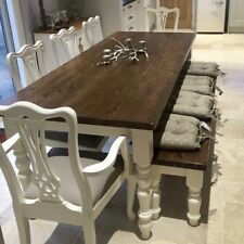 LARGE 7ft FARMHOUSE Table And Chairs Bench SHABBY CHIC OAK PINE Dining Set NEW