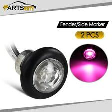 "2Pcs 3/4"" Truck Trailer LED Marker ID Light Clear Lens Pink Purple Surface Mount"
