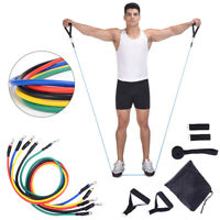 11 Piece Resistance Bands Set Heavy Workout Exercise Yoga Crossfit Fitness HDCFK