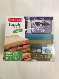 New BPA FREE Rubbermaid Lunch Blox Kids Kit with Blue Ice Purple Blue Green