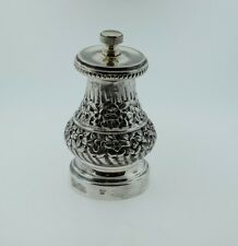 Italian 800 Silver Pepper Mill Spice Grinder Beaded Rim Hand Chased Florals