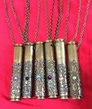 Large Bullet Casing Uniquely Decorate Stash Pendant On Chain(4 Meds,gems Etc)