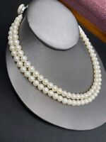 1950S Pure White Beaded Two Strand Glass Pearl Necklace Button Signed Japan