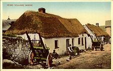 Ireland postcard ~1940/50 an irish village scene Partie in einem irischen Dorf
