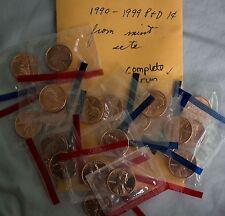 1990 thru 1999 BU Lincoln Memorial 20 P + D Coins Cent 1c US Mint Set Cello Lot