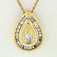 "14k Gold 1.00ctw Round & Baguette Diamond Pear Tear Drop 18"" Pendant Necklace"