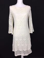 Dressbarn 10 Women's Ivory Creme Knee Length Long Sleeve Knit Dress