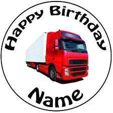 """Personalised Birthday Lorry HGV Round 8"""" Easy Precut Icing Cake Topper"""