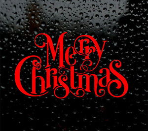 1 X MERRY CHRISTMAS DECAL LOGO FOR WALL WINDOW BAUBLE VINYL STICKER FUNNY