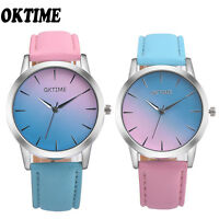 Retro Women Girls Rainbow Design Leather Band Analog Quartz Dress Wrist Watch