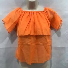 Junior Girls see through Thin Ruffle Short Sleeve Orange Blouse scrunch neck New