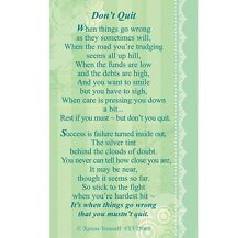 WALLET CARD KEEPSAKE DON'T QUIT Inspirational Hope Strength Courage Brave Verse
