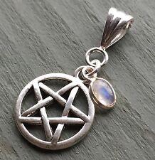 Silver Rainbow Moonstone Charm & Tibetan Pentagram Pendant Chakra Wiccan