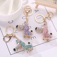 Cute Dog Keychain Pet Key Ring Rhinestone Crystal Bag Charm Pendant Car Keyring