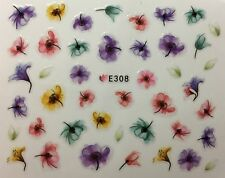 Nail Art 3D Decal Stickers Lily Flowers Watercolored Lilies E308