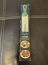 VINTAGE TAYLOR CANDY & JELLY THERMOMETER TEAL HANDLE IN BOX PAPERS NICE RARE