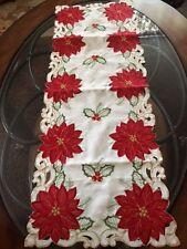 "Christmas Decor Table Runner Red Poinsettia Applique Embroider 36"" L Centerpiece"