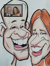 Stylish Full Colour Caricature from photos. 2 person. Large A3 size original art