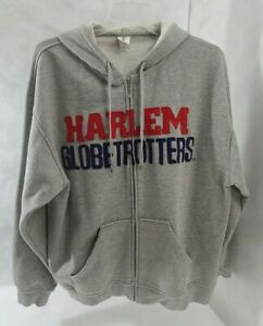 Harlem Globetrotters Official Merch Embroidered Zip Hoodie Gray Jacket Size XL