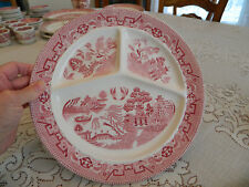 """Societe Ceramique Maestricht Red Willow (3) Sectioned plate 10 1/2"""" Dinner 10-1"""