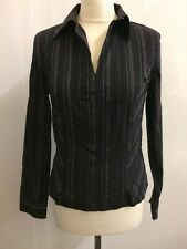 NEXT PETITE Black Striped Ladies Blouse Top Size 14 Smart Office Work Stretch