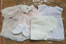Repro DRESS, SLIP, DIAPER & BOOTIES for 1960 Tiny Thumbelina Doll WHITE or PINK