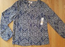 Laundry By Shelli Segal  Blouse Top Long Sleeve Mazarine Blue Print  Size S  NWT