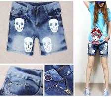 White Skull Jeans Denim Shorts Hot Pants 9189 Size M