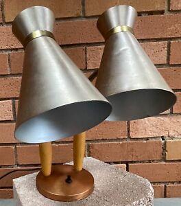 Vintage 50s 60s Metal Wood Gooseneck Sconce Lamp Mid Century Modern Atomic Era