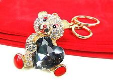 Gold Bear With Heart Keyring Dangling Rhinestone Diamante Handbag Buckle Charm