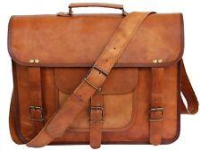 Brown Vintage Goat Leather Messenger Real Satchel Bag Genuine Laptop Briefcase