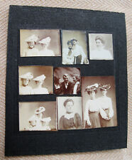 LOT OF 8 SMALL ANTIQUE ARCADE PHOTO BOOTH PENNY PHOTOS OF WOMEN MOUNTED ON CARD
