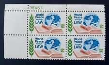 US Stamps, Scott #1576 10c 1975 Plate Block of 'World Peace' XF/Superb M/NH
