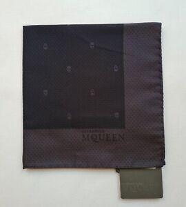 NEW Alexander McQueen Pocket Square Skull Polka-Dots  Mid Night Blue/D Grey