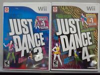 Just Dance 3 and 4 (Nintendo Wii) *LOT OF 2* Games Tested & Working