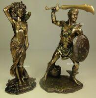 "ORISHA OGGUN OSHUN God Goddess Yoruba African Statue Sculpture 9.5"" Bronze color"