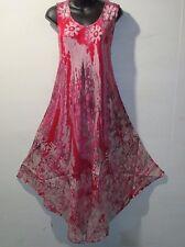 Dress Fits 1X 2X 3X 4X Plus Sundress Pink Purple Batik A Shaped NWT 7806 C-3