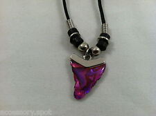 Natural Abalone Paua Shell Pink Shark Tooth Pendant Necklace Black Cord & Beads