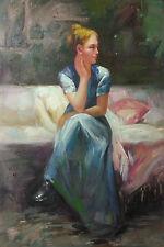 Dipinto Olio su Tela - 60x90 cm - Ritratto di Donna - Quadro Dama