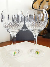 Waterford Crystal GLENMEDE Balloon Wine Glasses SET / 2  IRELAND - NEW / BOX!