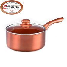 Cermalon 16cm Copper Ceramic Non-Stick Saucepan With Glass Lid 16cm