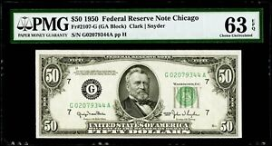 $50 1950 Federal Reserve Note Chicago Fr#2107-G PMG 63 EPQ Choice Uncirculated