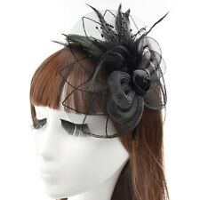 Mesdames Fascinator Sinamay Chapeau Noir Mariage Courses Parti occassion-Neuf