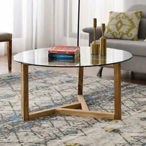 Round Glass Coffee Table Modern Cocktail Table Easy Assembly Sofa Table for Livi