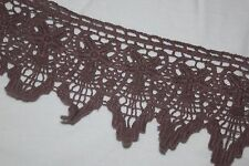 """1 yard Mocha Brown Taupe Cotton VENISE embroidered Victorian Trim lace 3.5"""""""
