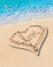 Invitations Beach Love Heart Wedding Bridal Shower Luau Party 8ct
