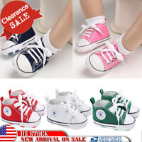 US Toddler Girls Boys Lace-up Crib Shoes Newborn Baby Soft Sole Sneakers Size