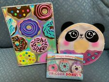JUSTICE DONUT SCENTED PUZZLE ERASERS/JOURNAL /PANDA CHANGE PURSE SUPER CUTE!!